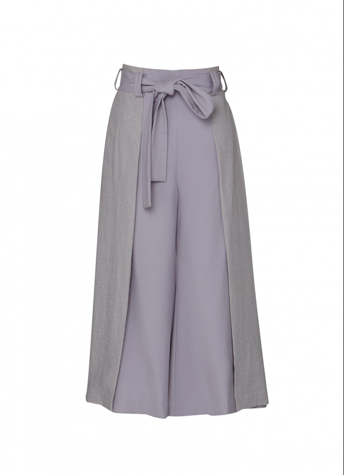 LIGHT GREY RAYON-BLEND CULOTTES