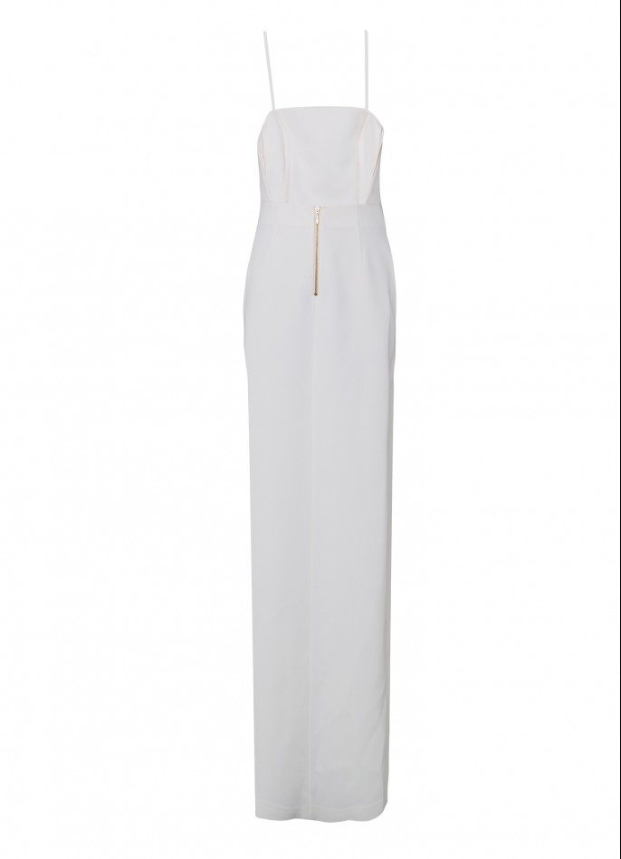 WHITE HIGH ZIP SLIT STRETCH CREPE BACKLESS GOWN