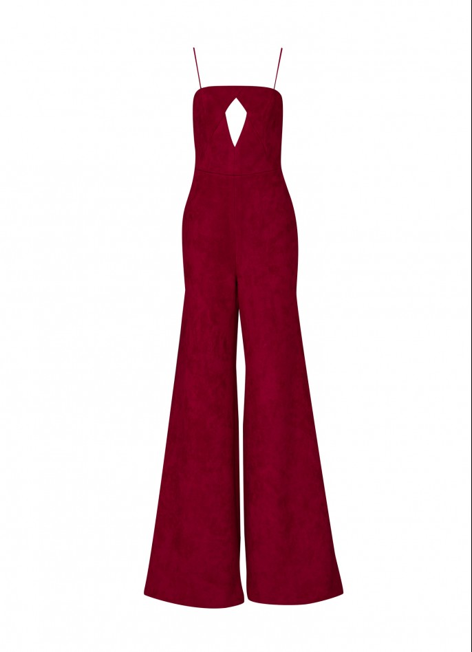 BURGUNDY CREPE-BLEND BACKLESS JUMPSUIT