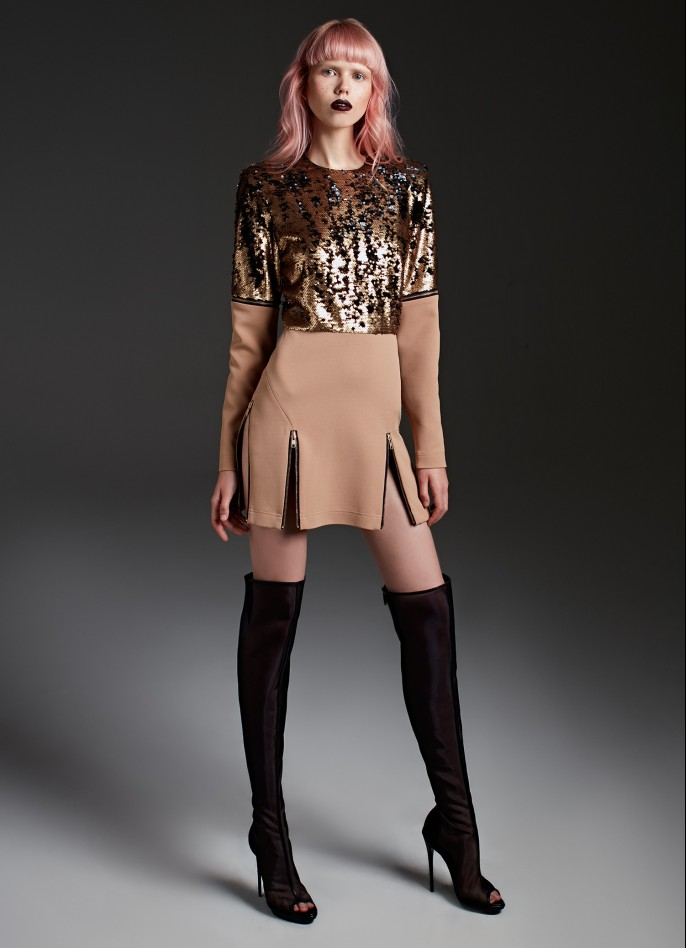 GOLD SEQUIN AND TAN HIGH ZIP SLIT DETACHABLE-SLEEVE STRETCH CREPE MINI DRESS