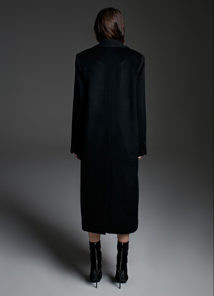 BLACK OVERSIZED WOOL-BLEND COAT