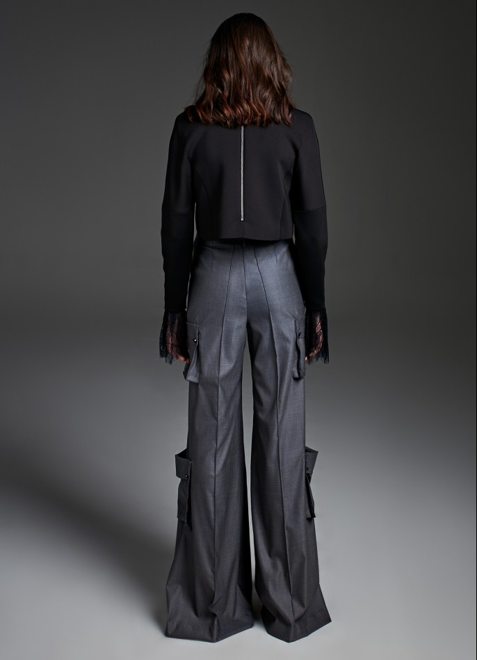 DARK GREY WOOL-BLEND WIDE-LEG PANTS