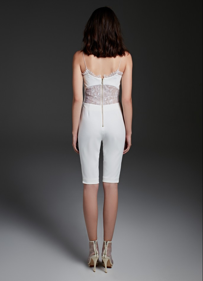 WHITE STRETCH CREPE AND LACE PLAYSUIT