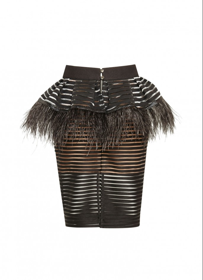 OSTRICH FEATHER-TRIMMED METALLIC STRIPED PENCIL SKIRT