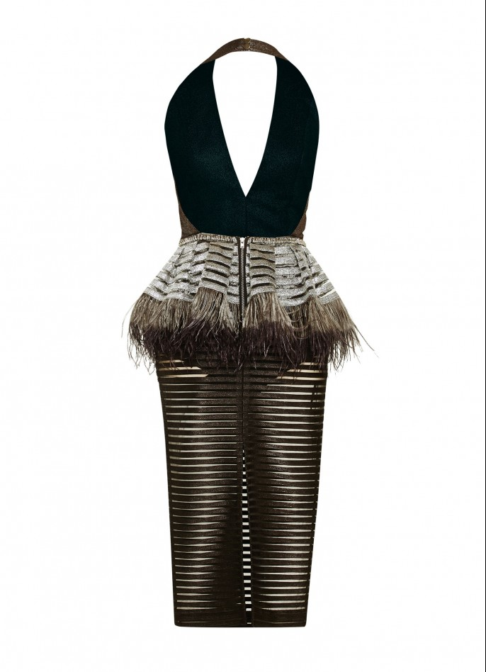 OSTRICH FEATHER-TRIMMED METALLIC STRIPED DRESS