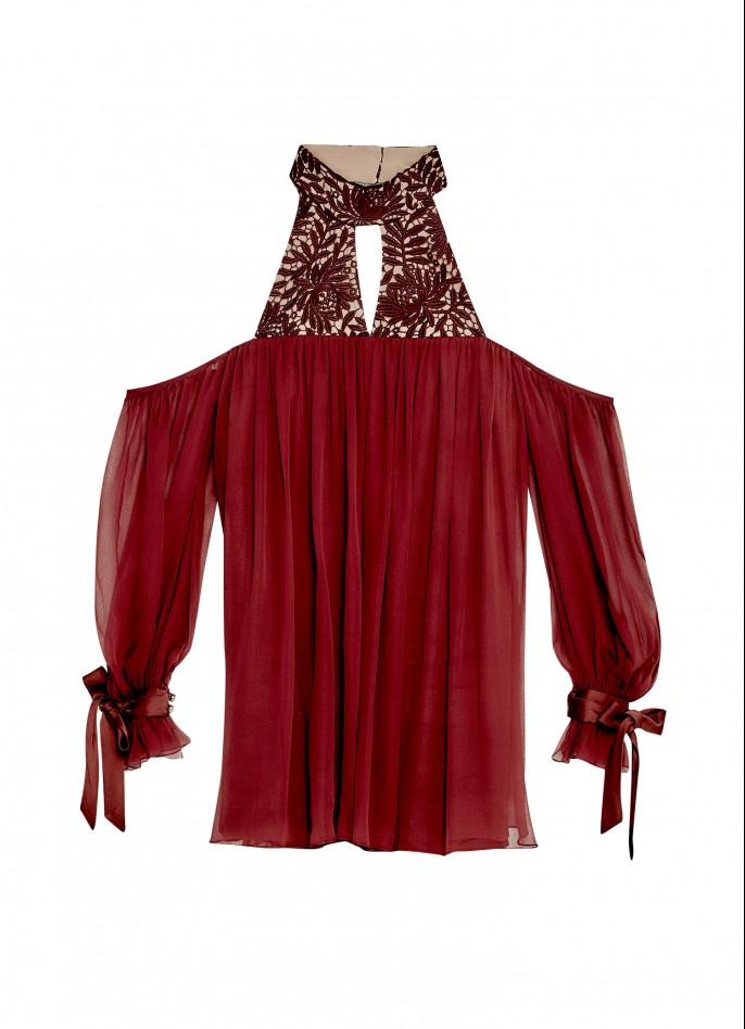 BURGUNDY GUIPURE LACE AND SILK CHIFFON DRESS