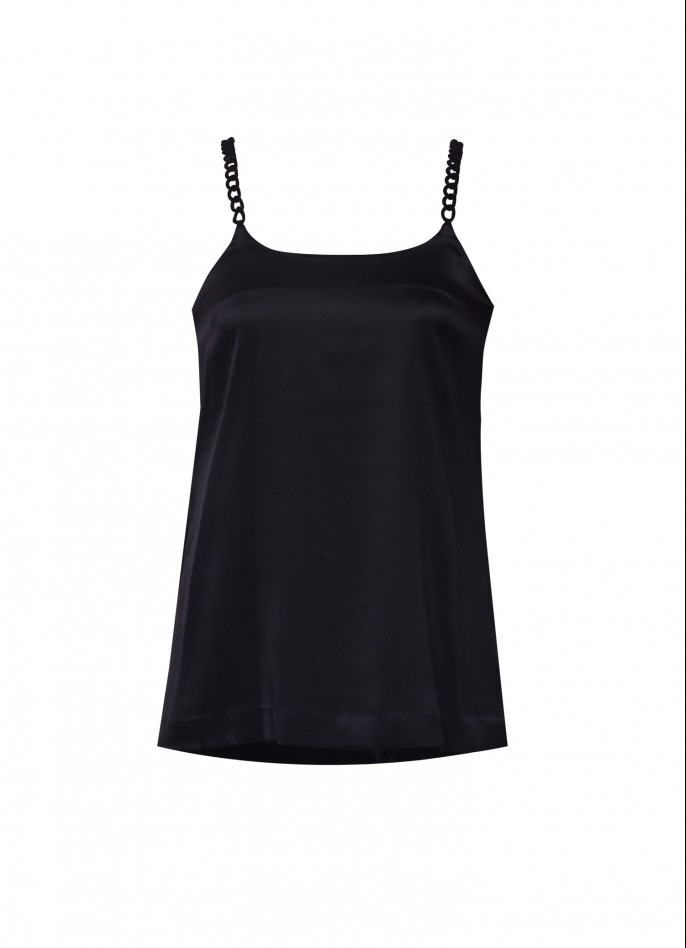 CHAIN-TRIMMED SILK SATIN CAMISOLE