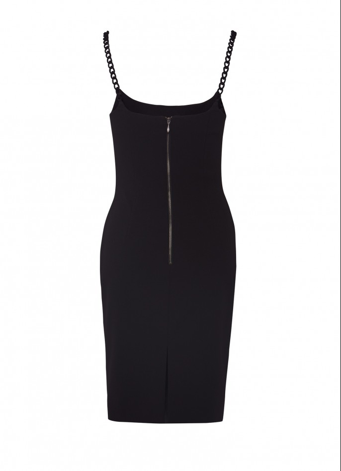 CHAIN-TRIMMED STRETCH CREPE DRESS