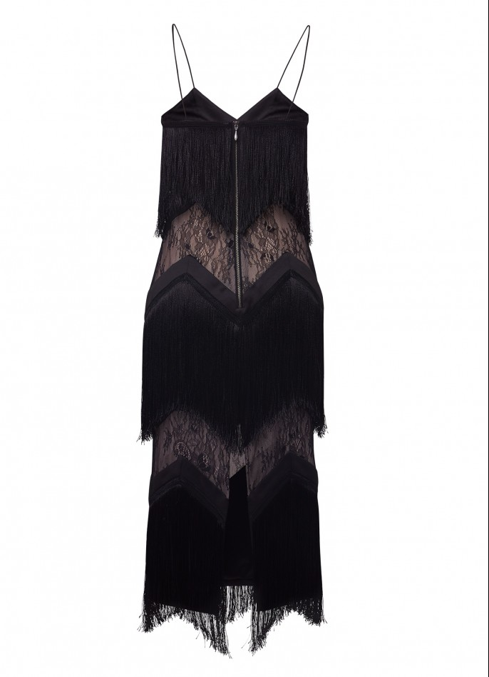 FRINGE-TRIMMED AND LACE MIDI DRESS