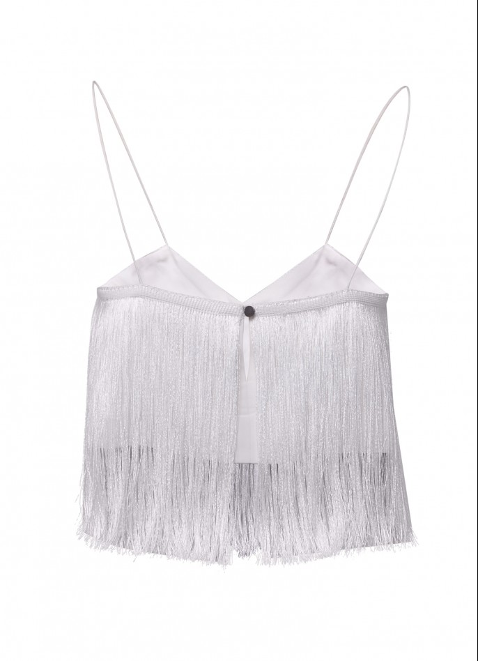 FRINGE-TRIMMED COTTON BLEND TOP