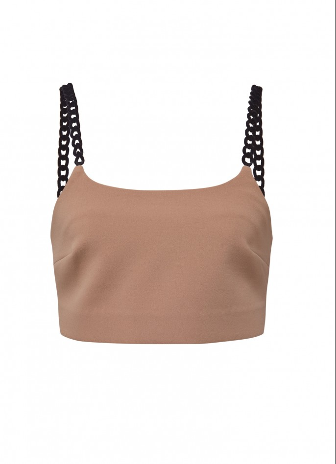 CHAIN-TRIMMED STRETCH CREPE TOP