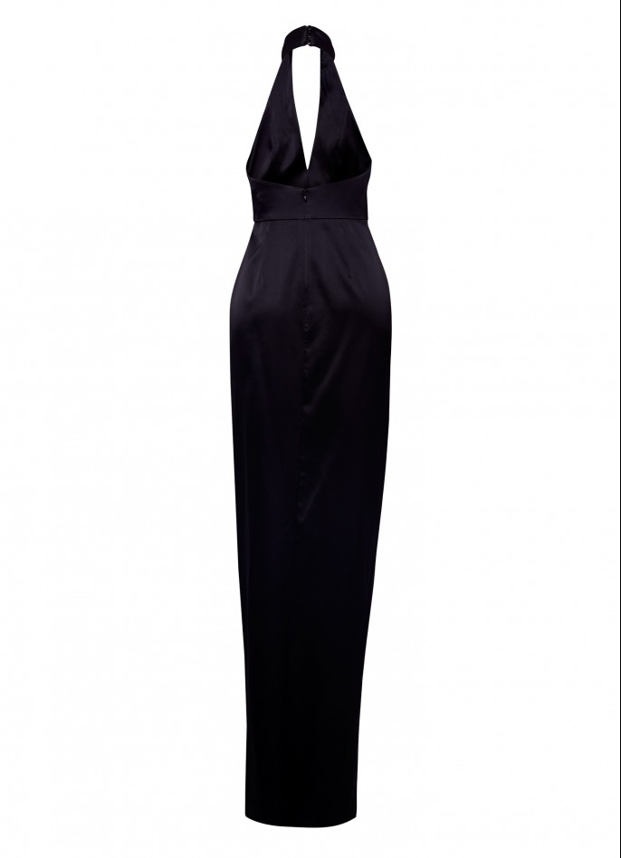 FRINGE-TRIMMED STRETCH SILK SATIN GOWN