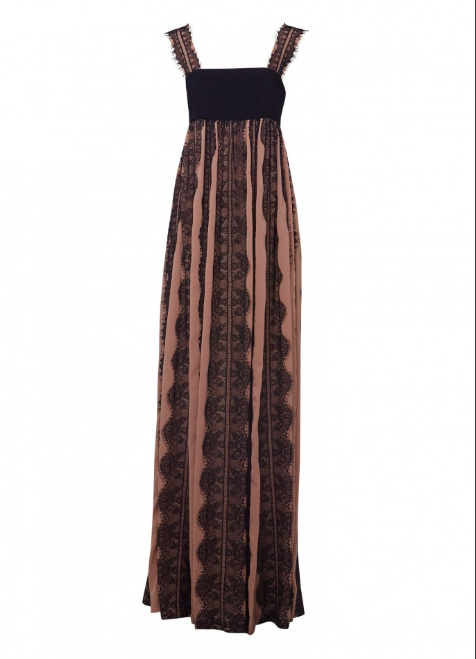 COTTON-BLEND AND LACE-PANELED MAXI DRESS