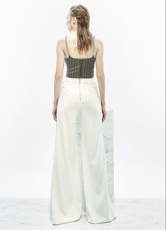 EMBELLISHED STRETCH CREPE WIDE-LEG PANTS