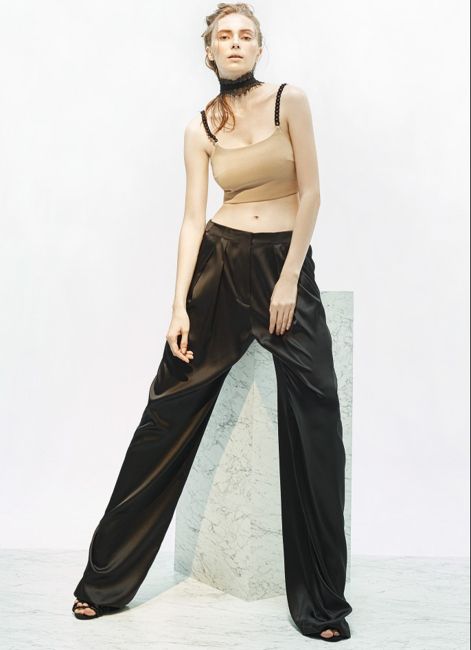 STRETCH SILK SATIN WIDE-LEG PANTS