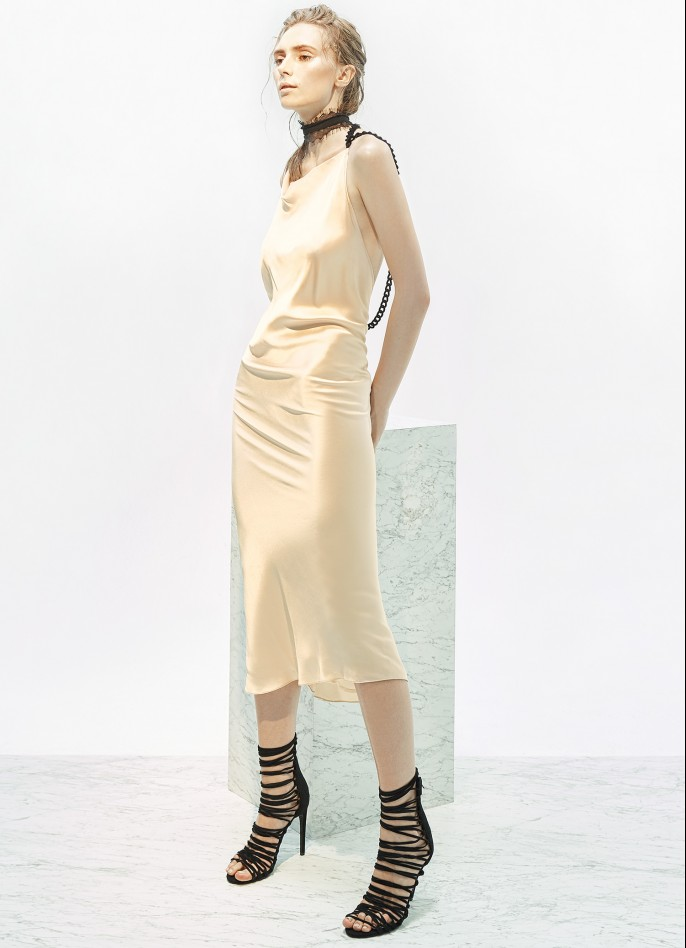 CHAIN-TRIMMED SILK SATIN MAXI DRESS