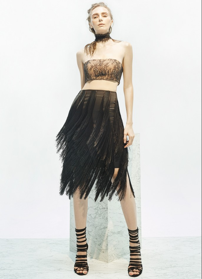 FRINGE-TRIMMED SKIRT