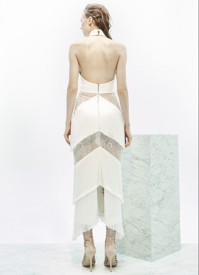STRETCH CREPE AND FRINGE-TRIMMED WITH LACE GOWN