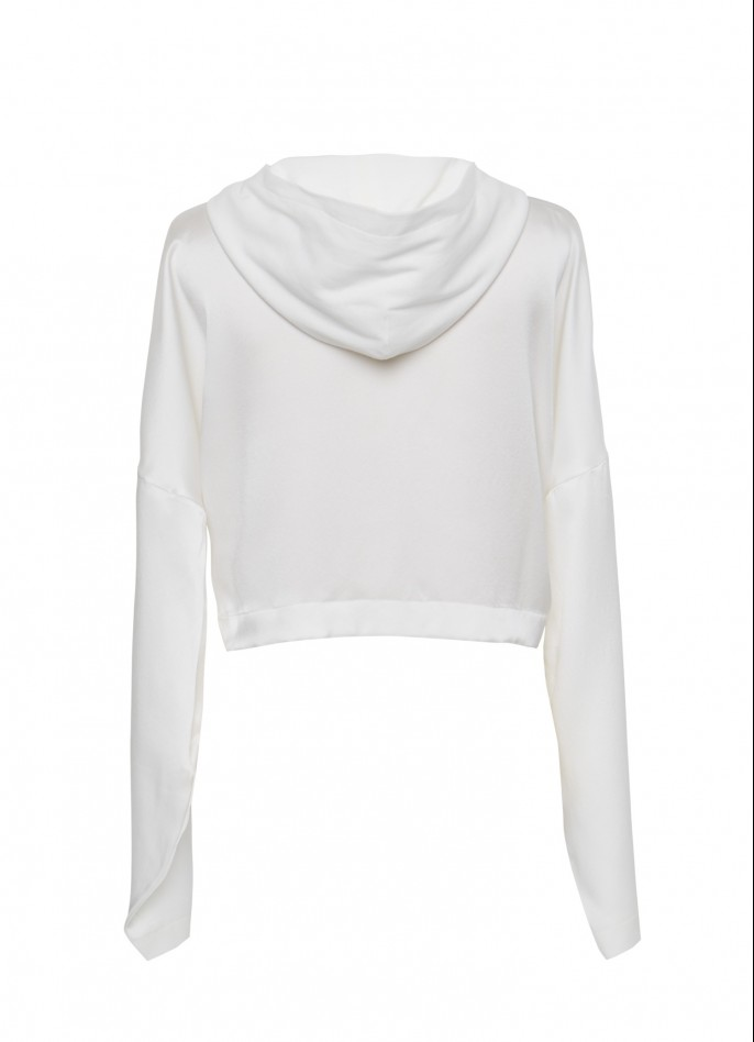 WHITE SILK SATIN AND COTTON HOODED TOP