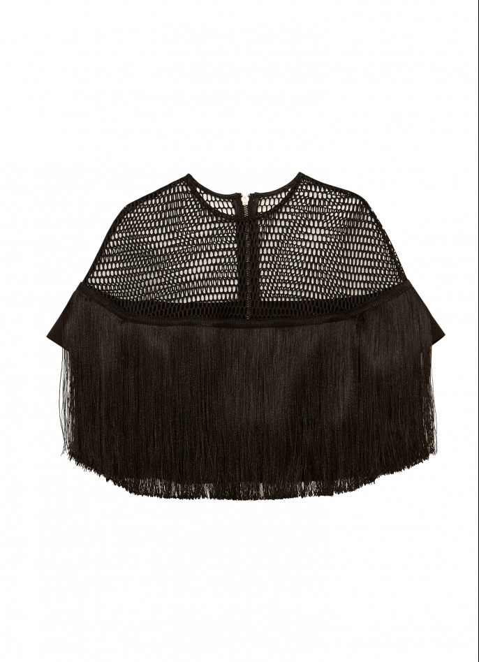 BLACK MESH FRINGE TOP
