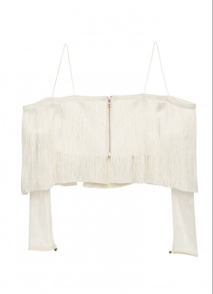 OFF WHITE LACE FRINGE TOP