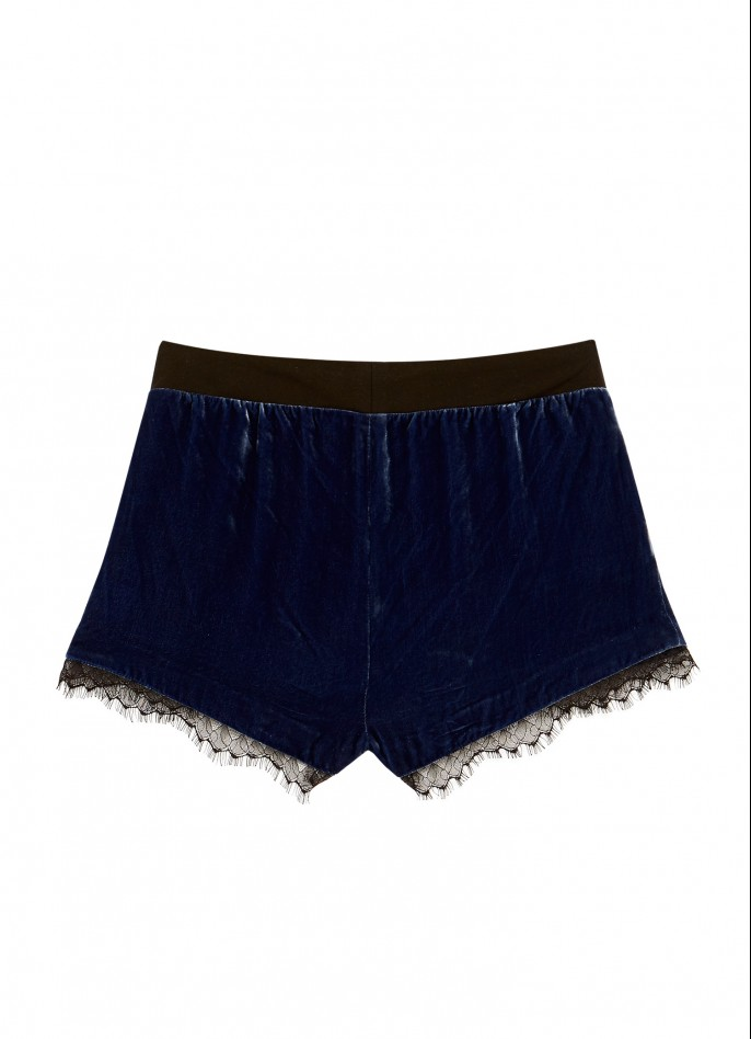 BLACK LACE-TRIMMED DARK BLUE SILK VELVET AND COTTON SHORTS