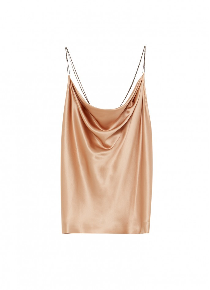BEIGE SILK SATIN DRAPED BACKLESS TOP