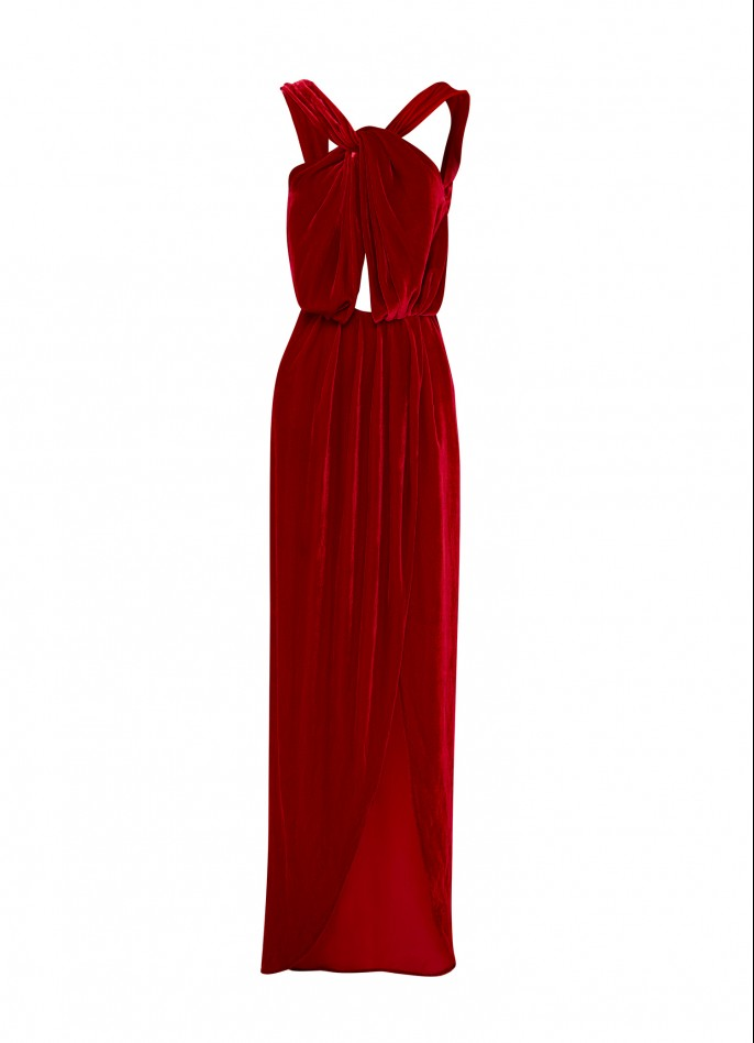 RED SILK VELVET BACKLESS GOWN