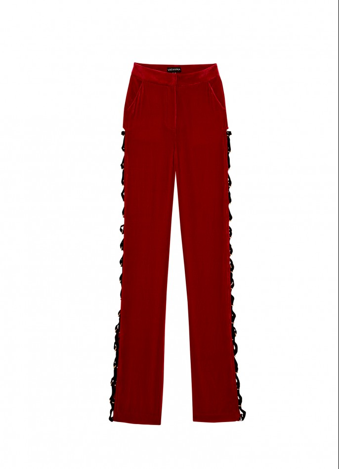 RED SILK VELVET LACE-UP WIDE-LEG PANTS