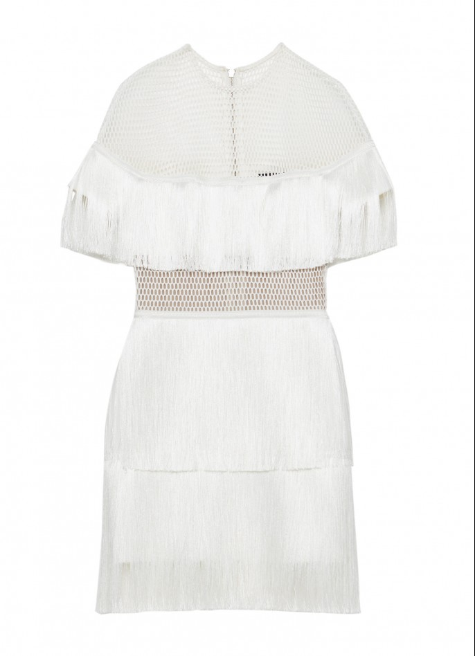 OFF WHITE STRETCH-CREPE MESH FRINGE MINI DRESS