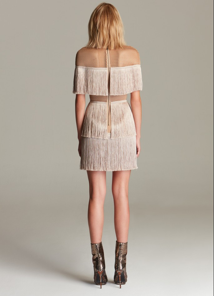 BEIGE STRETCH-CREPE MESH FRINGE MINI DRESS