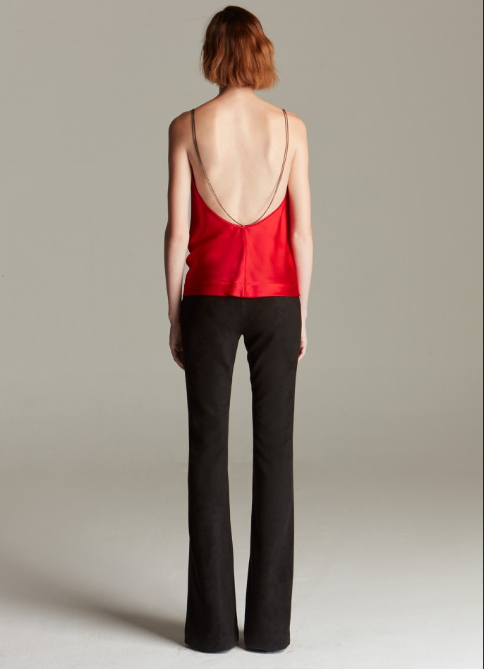 RED SILK SATIN DRAPED BACKLESS TOP