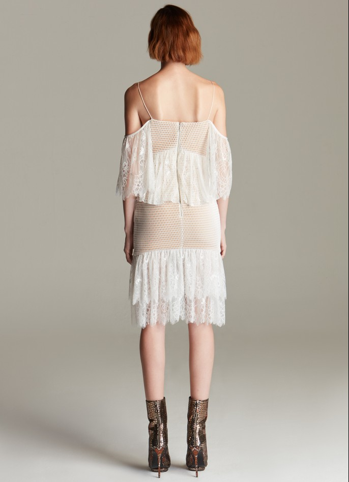 OFF WHITE CUTOUT LACE-RUFFLED DRESS