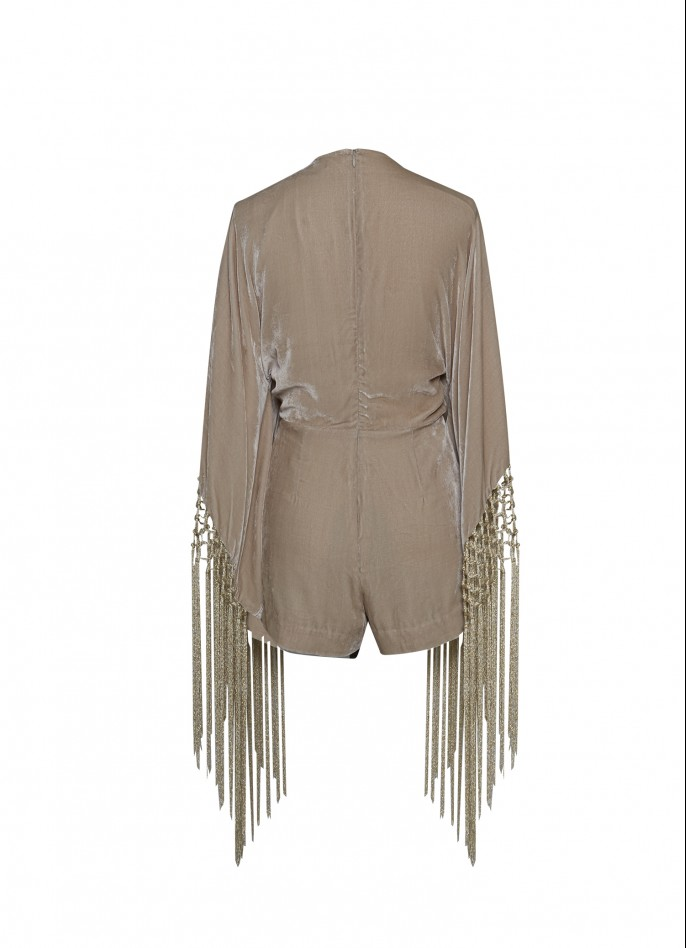 METALLIC FRINGE-TRIMMED SILK VELVET PLAYS