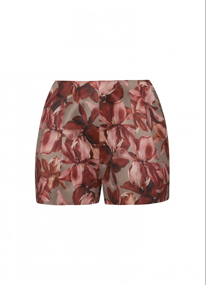FLORAL-PRINTED STRETCH-CREPE SHORTS
