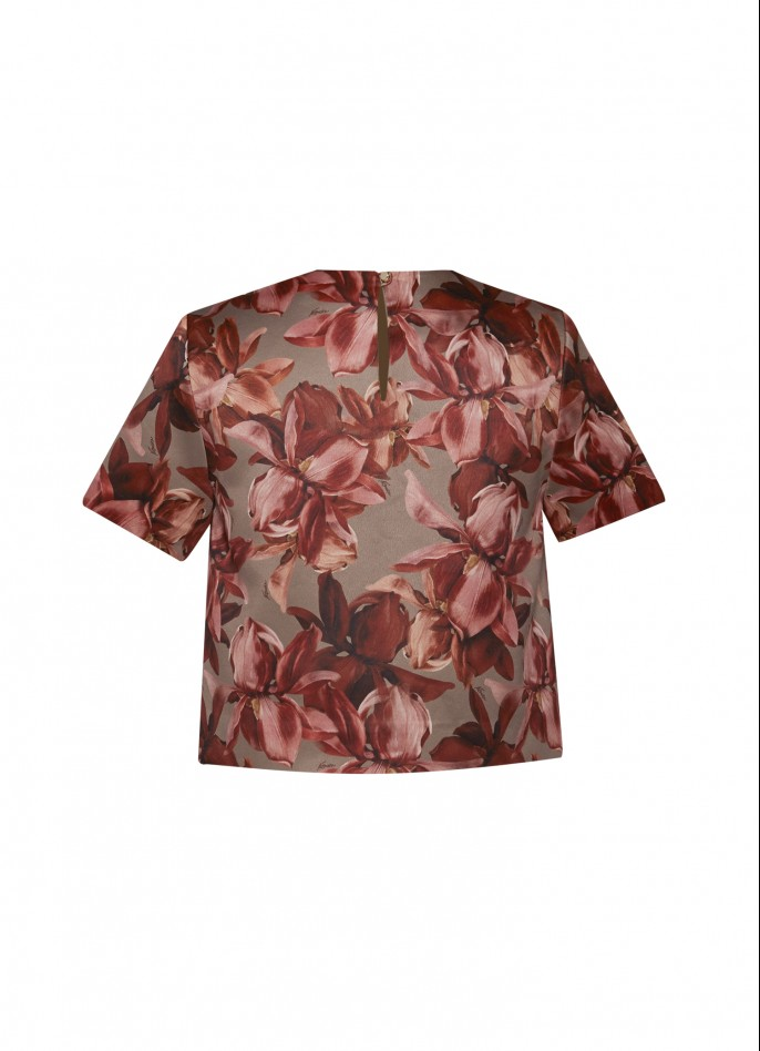 FLORAL-PRINTED STRETCH-CREPE TOP