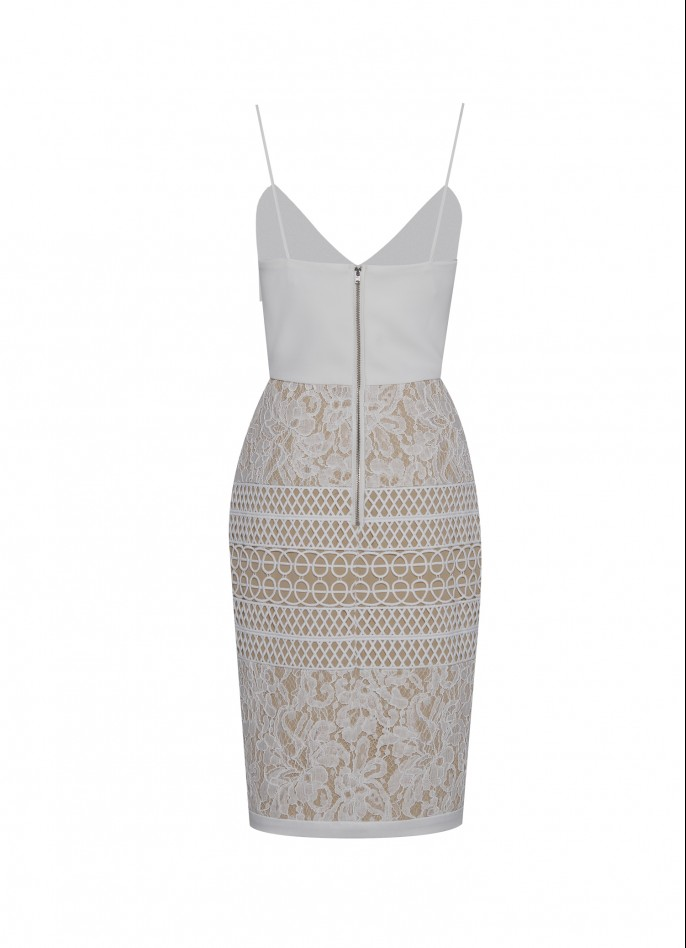 STRETCH-CREPE AND GUIPURE LACE DRESS