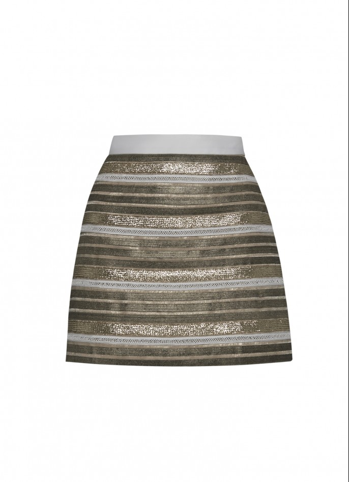 METALLIC STRIPED EMBELLISHED MINI SKIRT