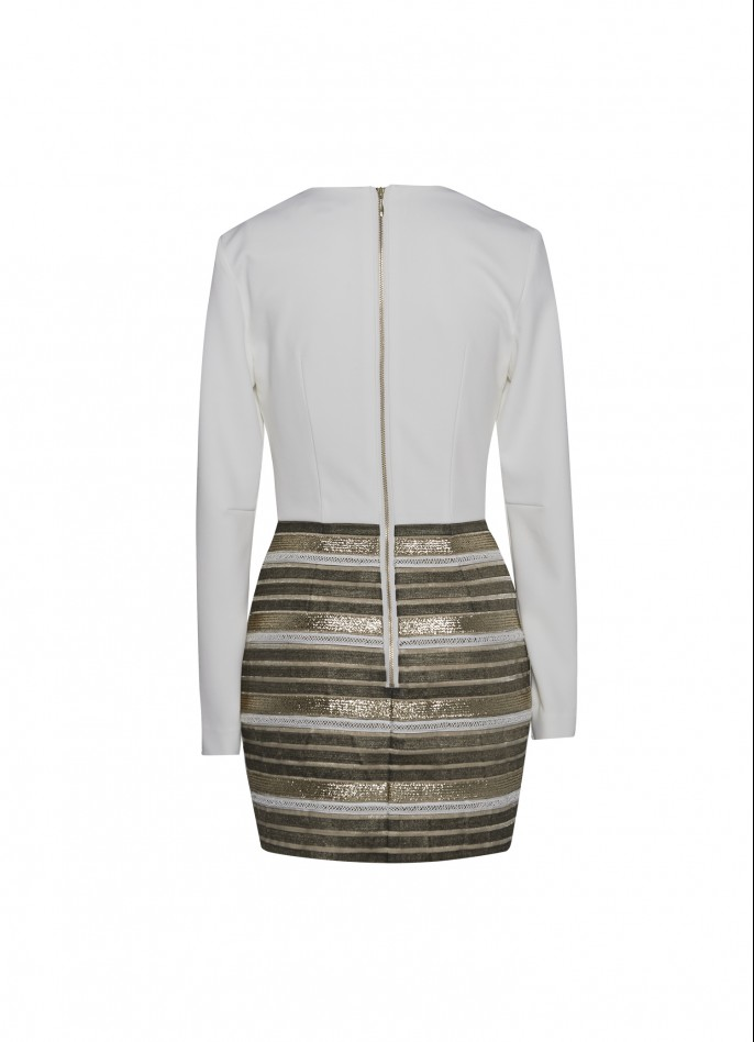STRETCH-CREPE AND METALLIC STRIPED EMBELLISHED MINI DRESS