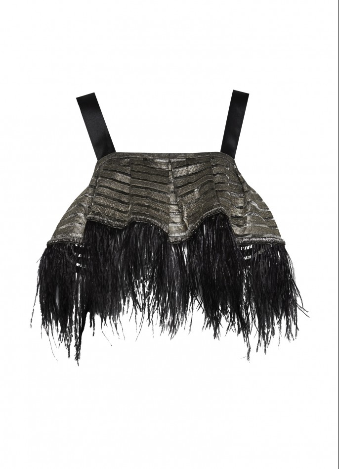 OSTRICH FEATHER-TRIMMED CROPPED METALLIC STRIPED TOP