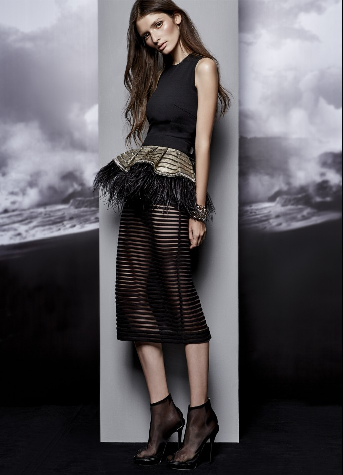 STRIPED MESH MIDI DRESS WITH REMOVABLE OSTRICH FEATHER-TRIMMED METALLIC STRIPE BELT