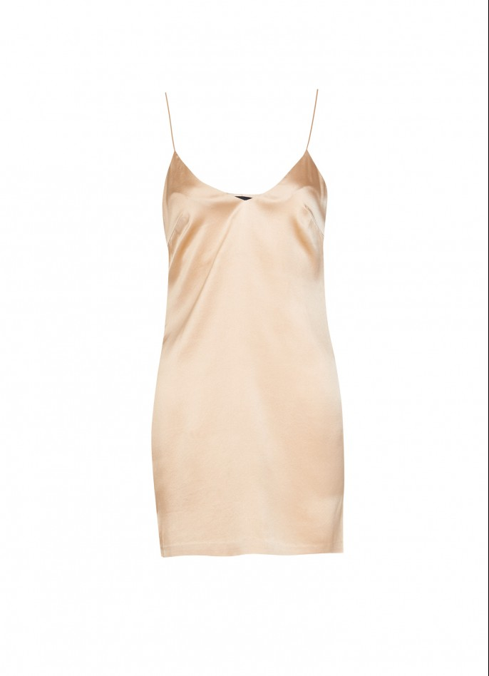 STRETCH SILK SATIN SLIP DRESS