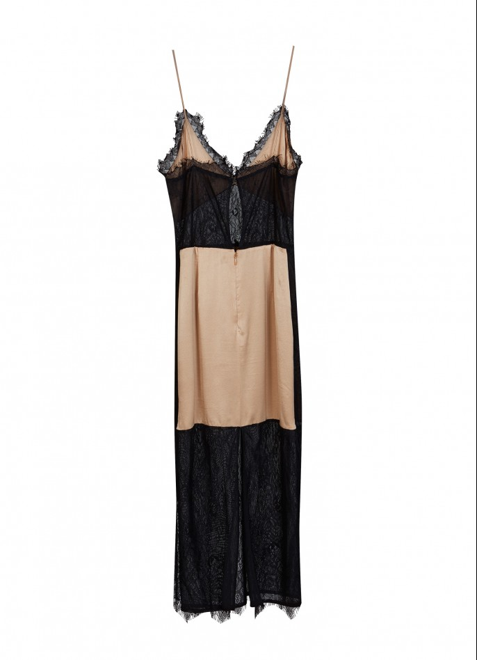 LACE AND STRETCH SILK SATIN SLIP DRESS