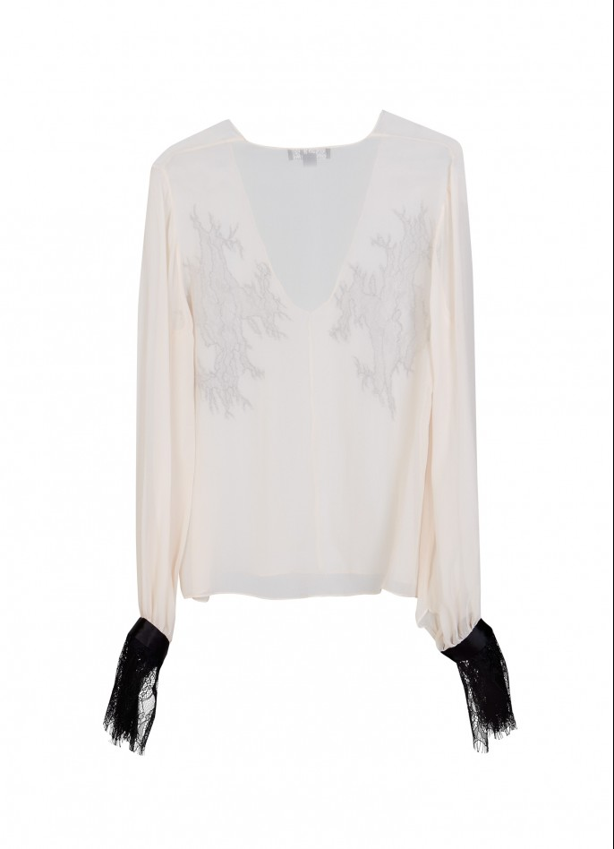 SILK CHIFFON AND LACE BLOUSE