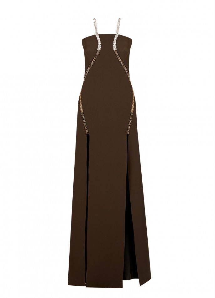EMBELLISHED STRETCH CREPE GOWN