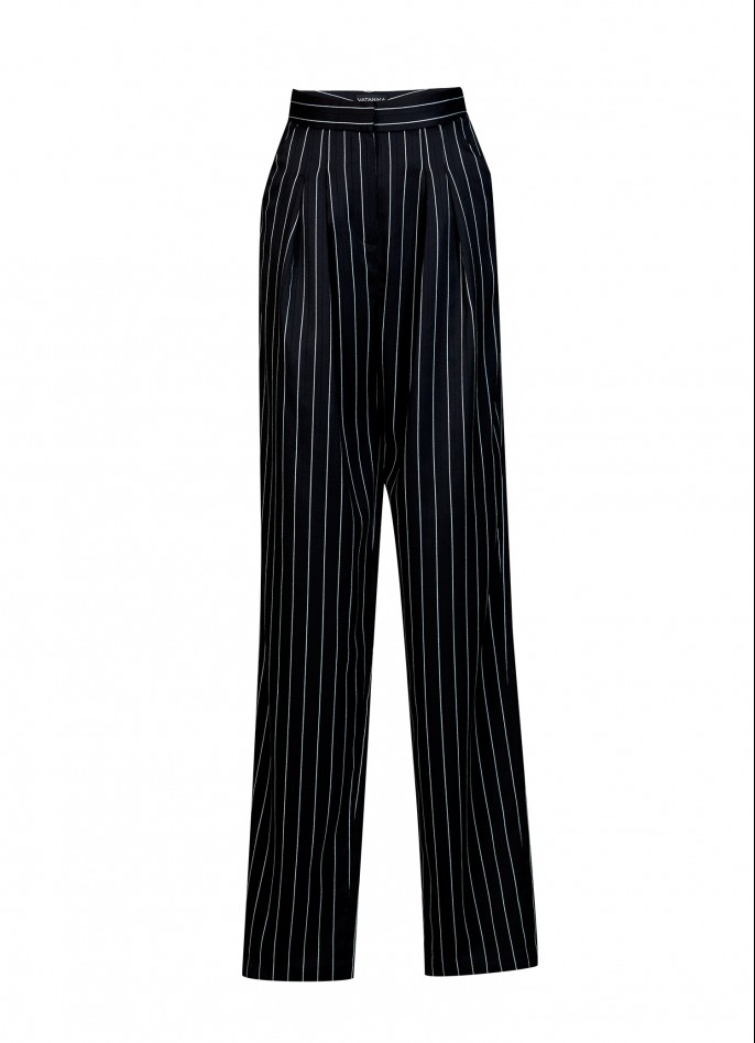 PINSTRIPED RAYON BLEND WIDE-LEG PANTS