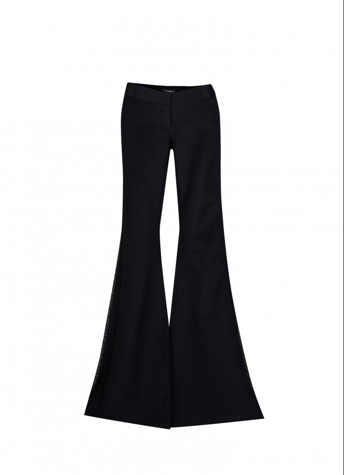 EMBELLISHED SILK WIDE-LEG PANTS