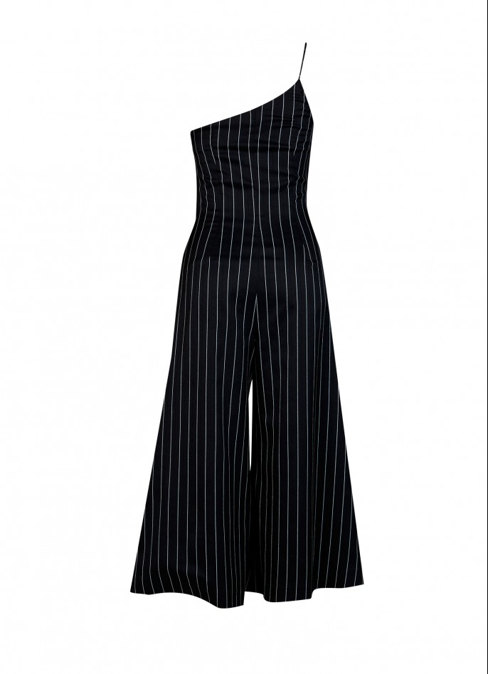 EMBELLISHED PINSTRIPED RAYON BLEND JUMPSUIT