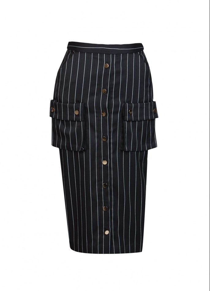 PINSTRIPED RAYON BLEND PENCIL SKIRT