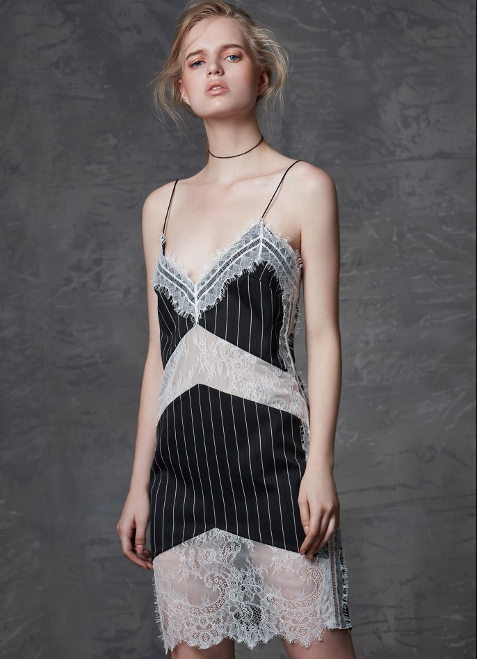 PINSTRIPED LACE AND RAYON BLEND SLIP DRESS